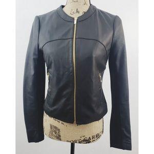 NWOT Via Spiga XS 100% genuine leather black coat
